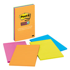 Super Sticky Notes 4 x 6 45 Sheets Lined Assorted Ultra