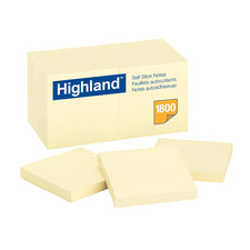 "Highland Self Stick 18Pk Removable Notes 3"" x 3"" Yellow"