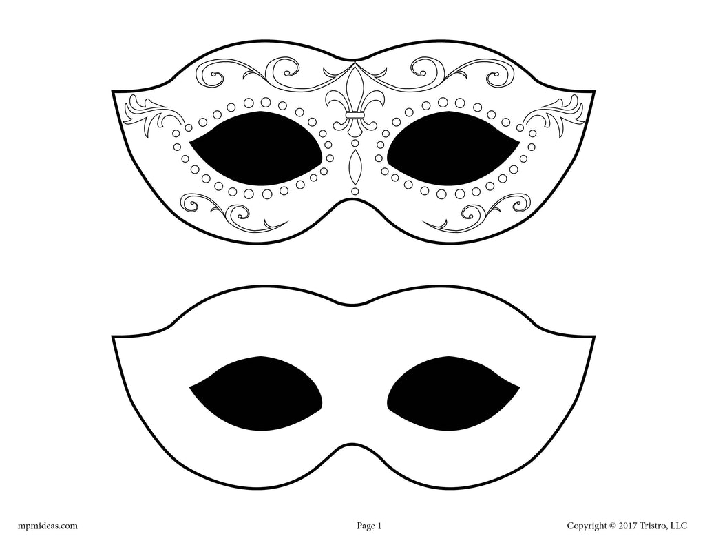 FREE Printable Mardi Gras Mask Template!