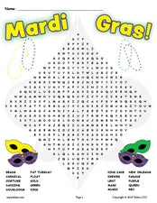 FREE Printable Mardi Gras Word Search!