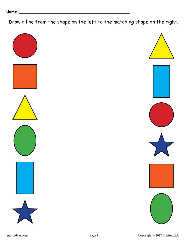 Shapes Matching Worksheet: Circle, Square, Triangle, Oval, Rectangle, Star - Color