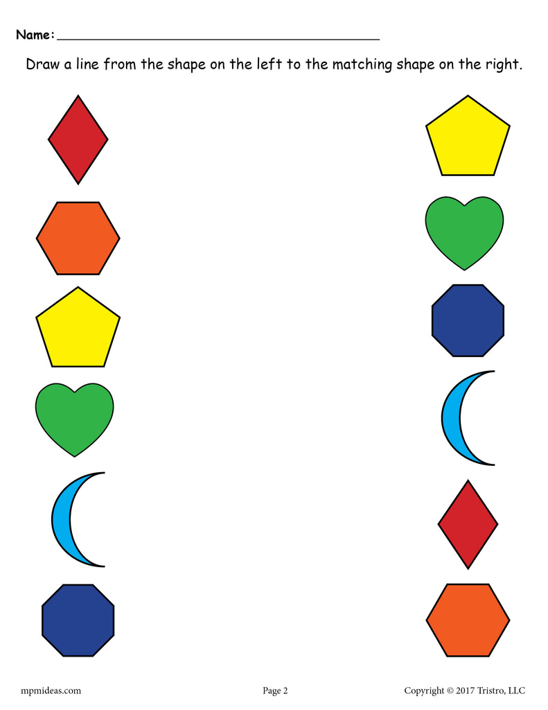 6 FREE Shapes Matching Worksheets for Preschool & Toddlers ...