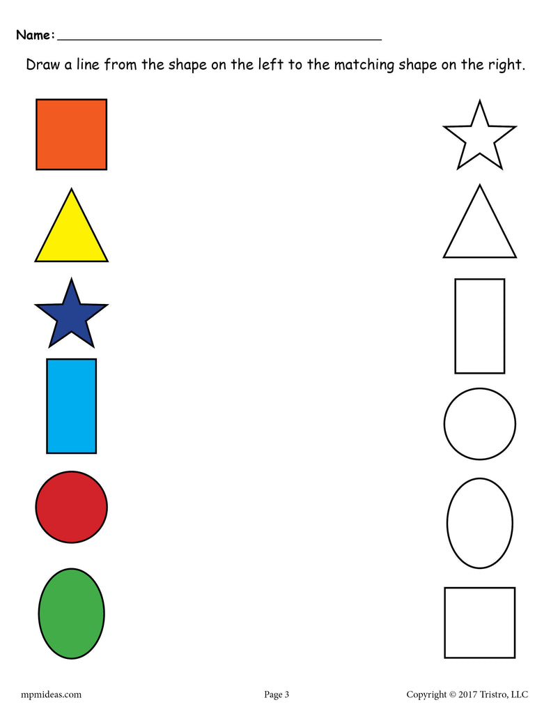 6 Free Shapes Matching Worksheets For Preschool Toddlers