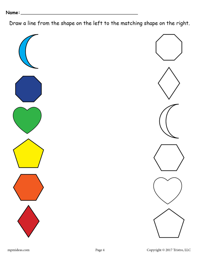Shapes Matching Worksheet: Crescent, Octagon, Heart, Pentagon, Hexagon, Diamond - Color and Black & White