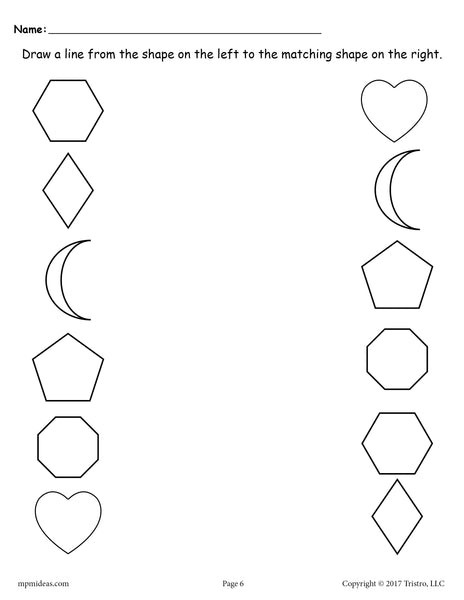 6 Free Shapes Matching Worksheets For Preschool Amp Toddlers