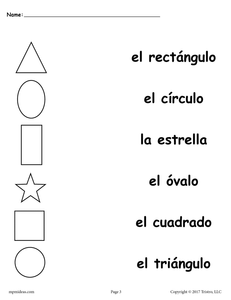 4 Preschool Spanish Shapes Matching Worksheets!