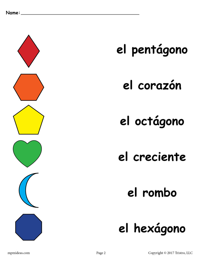 4 FREE Preschool Spanish Shapes Matching Worksheets ...