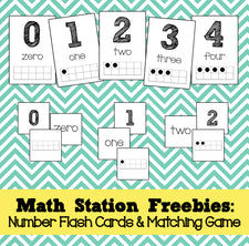 Math Station Freebies: Number Flash Cards & Memory Game!