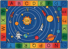 "Milky Play Space Themed Alphabet Classroom Rug, 4'5"" x 5'10"" Rectangle"