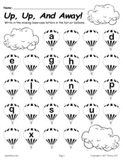 FREE Printable Lowercase Alphabet Worksheet - Fill In the Missing Letters Hot Air Balloon Theme!