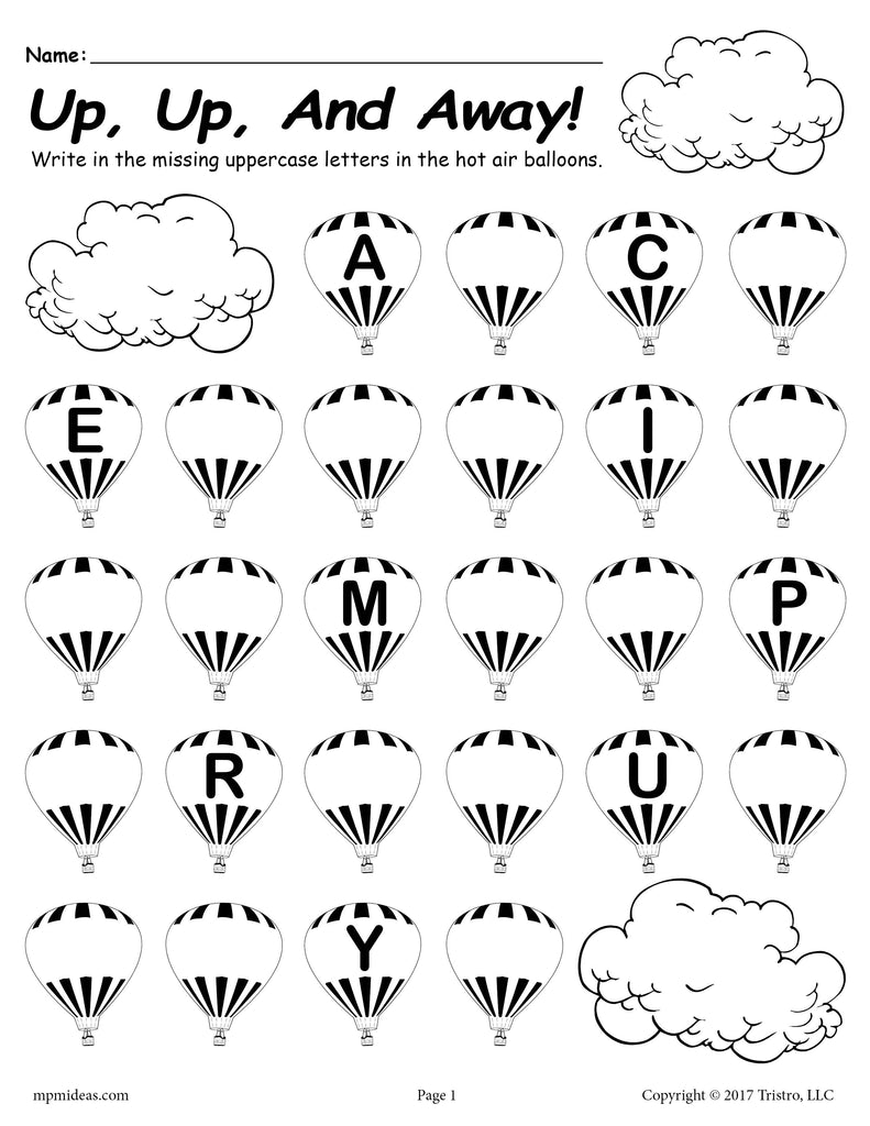 FREE Printable Uppercase Alphabet Worksheet - Fill In the Missing Letters Hot Air Balloon Theme!