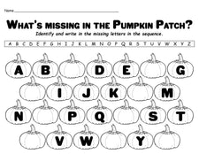 """Missing Letters in the Pumpkin Patch"" Printable Alphabet Worksheet!"