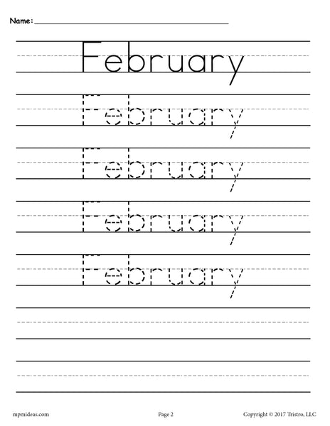 12 free handwriting worksheets months of the year supplyme. Black Bedroom Furniture Sets. Home Design Ideas