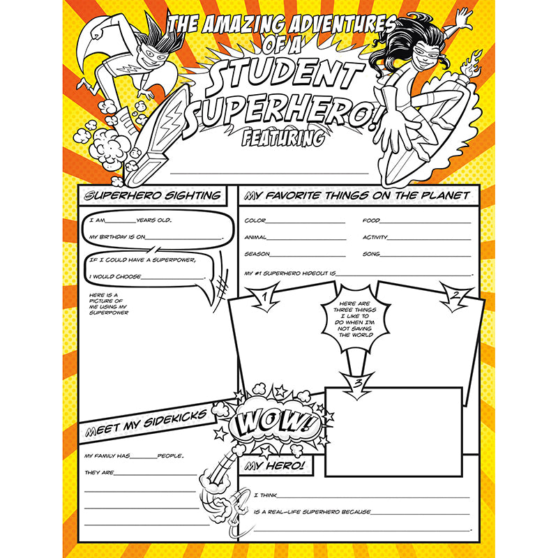 Fill Me In: Superheroes Activity Posters