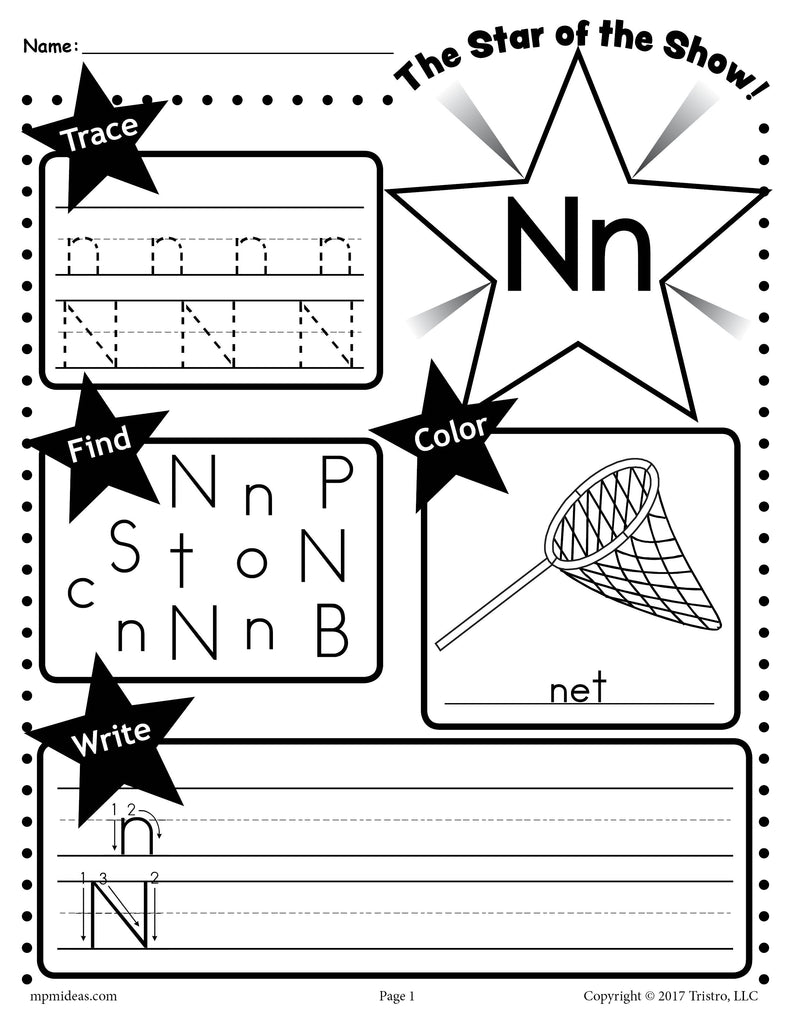 Free Letter N Worksheet Tracing Coloring Writing More Supplyme