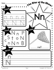 FREE Letter N Worksheet: Tracing, Coloring, Writing & More!