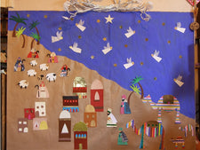 Nativity Scene Mural - Christmas Bulletin Board Idea