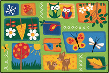 Toddler Nature Themed Classroom Rug, 4' x 6' Rectangle