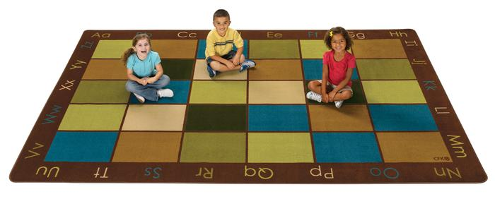 "Nature's Colors Alphabet Classroom Circle Time Rug, 7'6"" x 12' Rectangle (seats 30)"