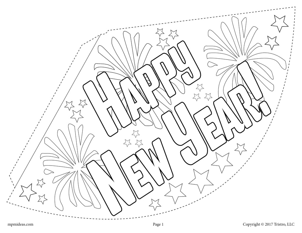 Printable 2018 New Year's Party Hat Activity & Craft! - (3 Versions)