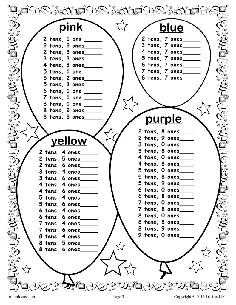 FREE Printable 2018 New Year's Place Value Mystery Picture