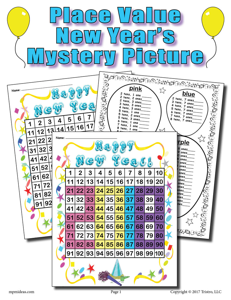 Printable 2018 New Year's Place Value Mystery Picture!