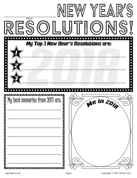 Free Printable 2018 New Year 39 S Resolution Activity Supplyme