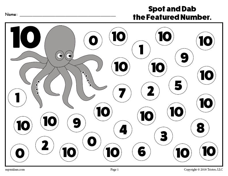 Number Ten Do-A-Dot Printable! – SupplyMe