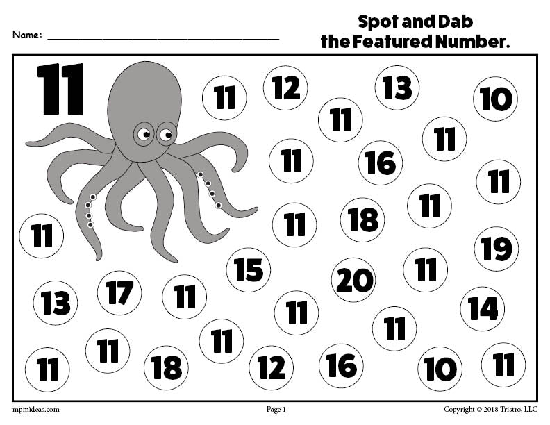 FREE Number Eleven Do-A-Dot Printable!