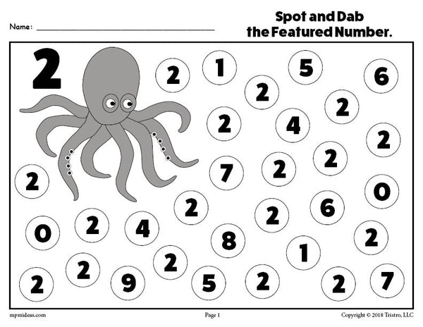 Number Two Do-A-Dot Printable!