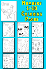 FREE Printable Animal Number Coloring Pages - Numbers 1-10!