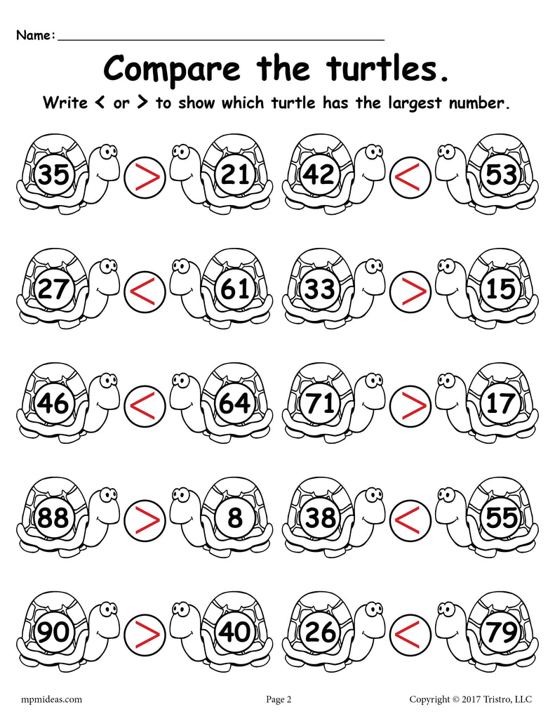 FREE Turtle Themed Greater Than Less Than Worksheet