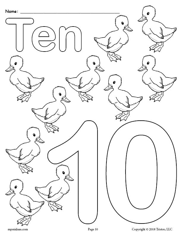 Number 10 Coloring Page - Baby Ducks