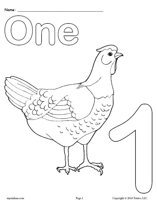 Free Printable Animal Number Coloring Pages Numbers 1 10 Supplyme