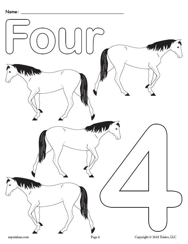 Number 4 Coloring Page - Horses