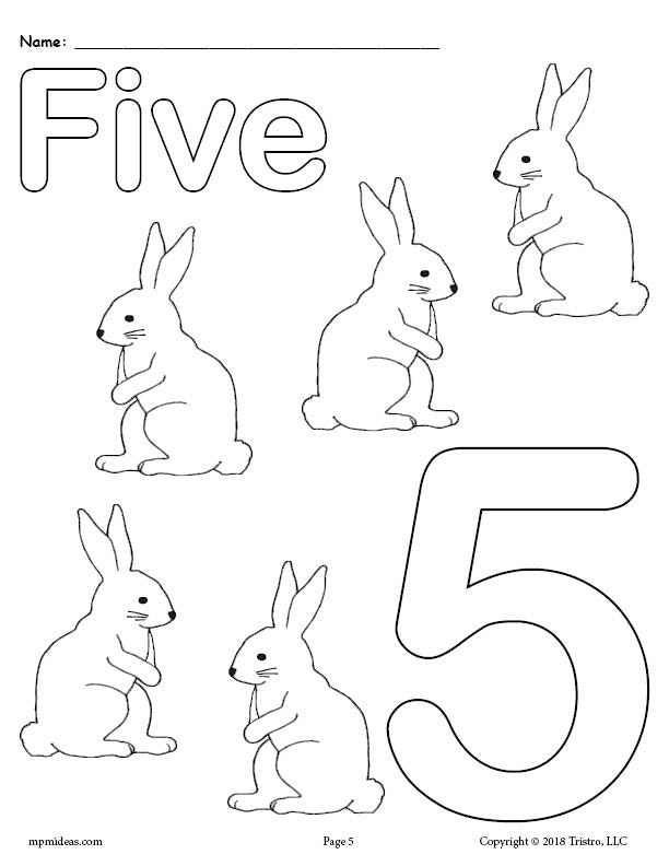 Number 5 Coloring Page - Rabbits