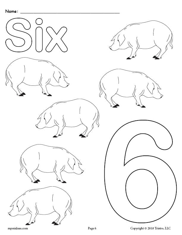 Number 6 Coloring Page - Pigs