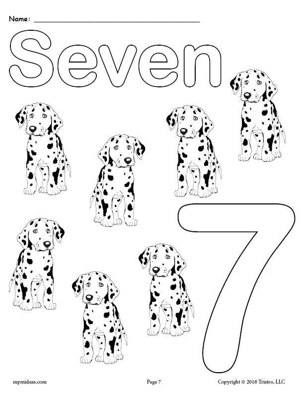 Number 7 Coloring Page - Dogs