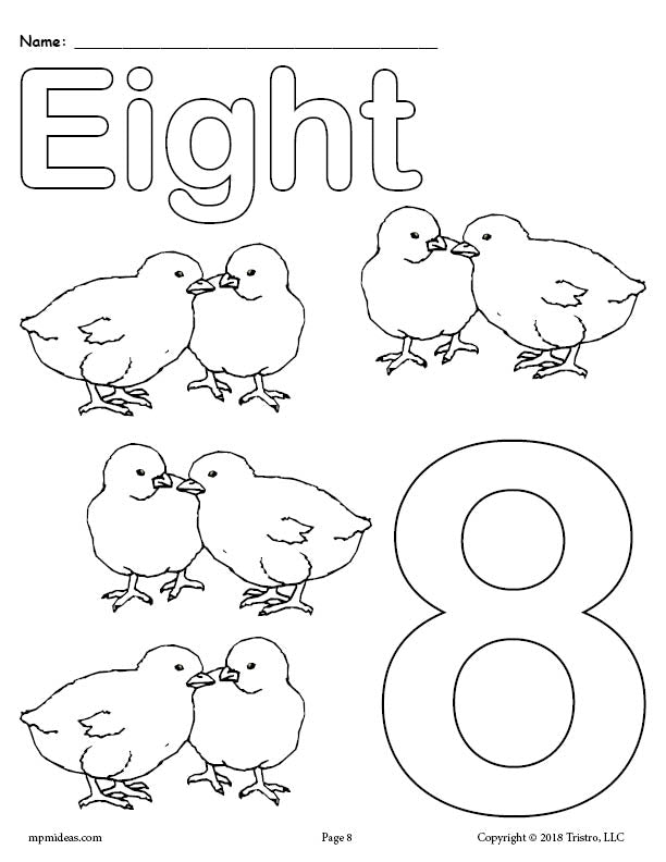 Number 8 Coloring Page - Baby Chicks