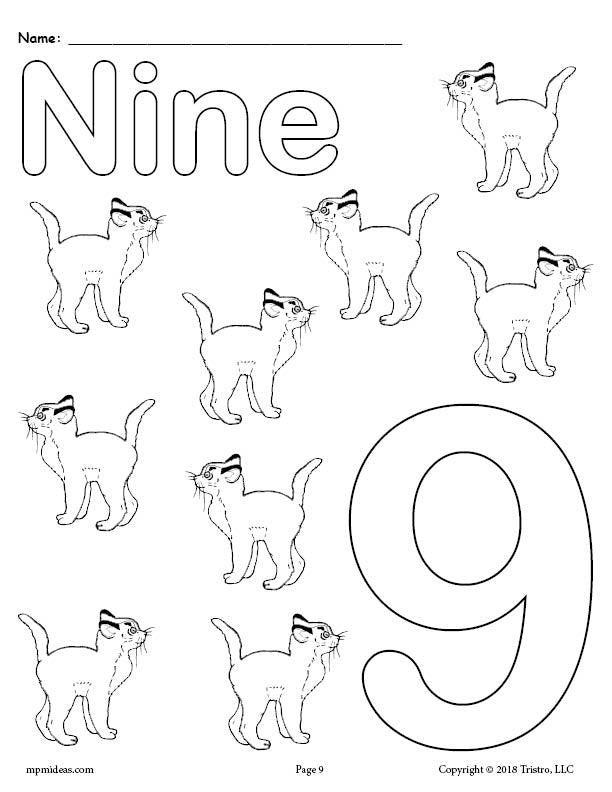 Number 9 Coloring Page - Cats