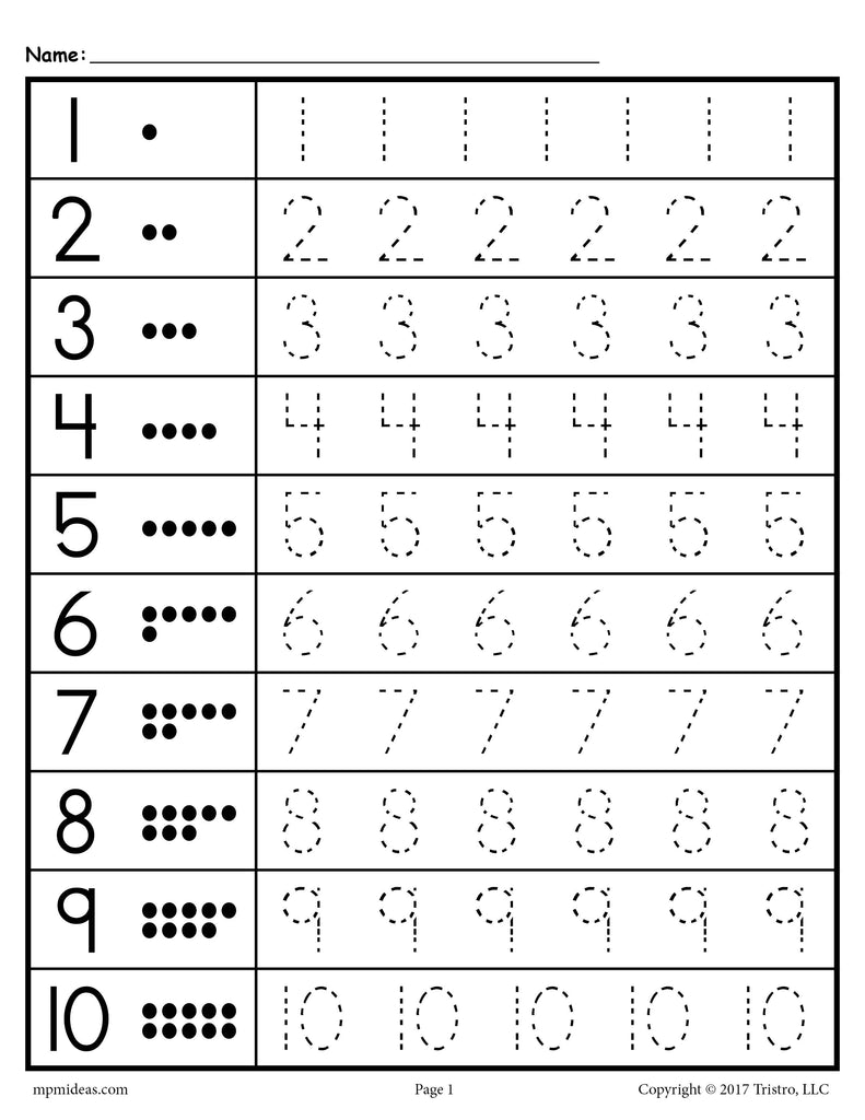 trace numbers worksheet - trace numbers 1-9 worksheet