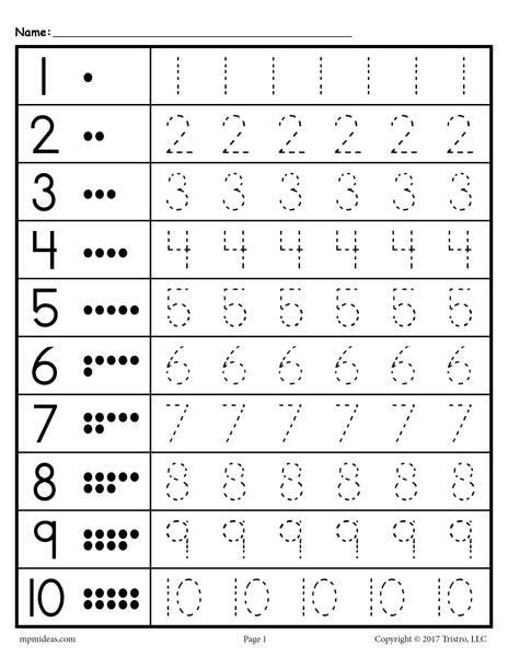 Tracing Worksheets Numbers 1-20! – SupplyMe