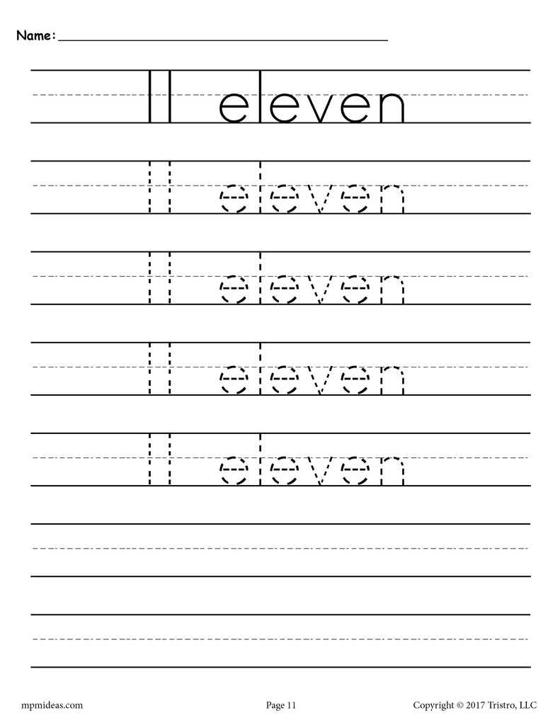 FREE Number 11 Tracing Worksheet - Number Eleven Handwriting ...