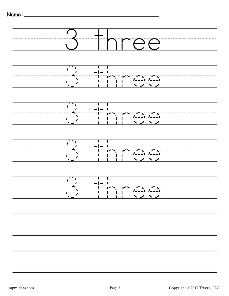 Free Number 3 Tracing Worksheet Number Three Handwriting