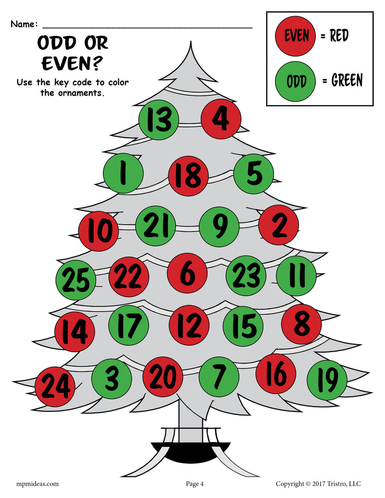 FREE Printable Countdown to Christmas Odd and Even Worksheets ...