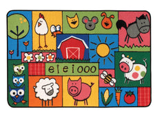 Old MacDonald Farm KID$ Value Discount Classroom Rug, 4' x 6' Rectangle