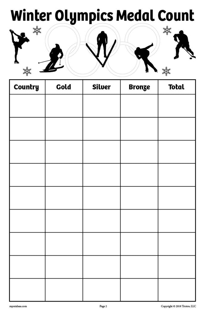 FREE Printable Winter Olympics Medal Count Tally Worksheets