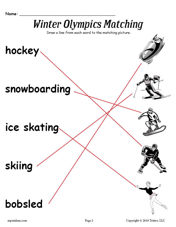 Printable Winter Olympics Matching Worksheet!