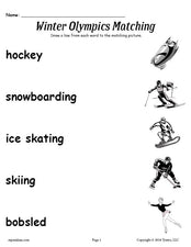 FREE Printable Winter Olympics Matching Worksheet!