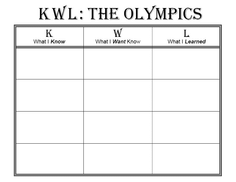 graphic about Free Printable Kwl Chart named Absolutely free Printable Olympic Themed K-W-L Chart SupplyMe